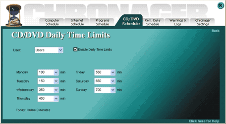 Chronager. Daily time limits for CD/DVD ROMs and Removable disks